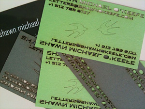 laser-etched business cards