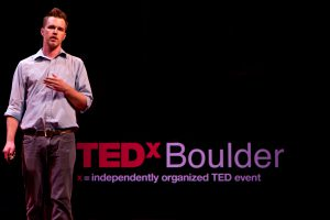 Shawn at TEDxBoulder in 2010.